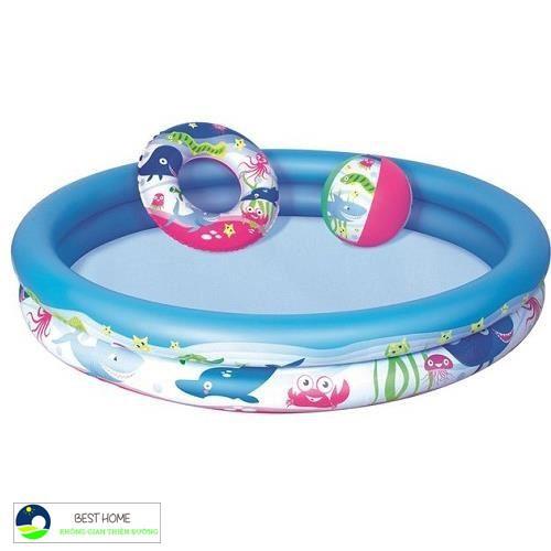 Bể bơi phao cho bé 3 chi tiết xúc cát bộ câu cá 100 bóng banh
