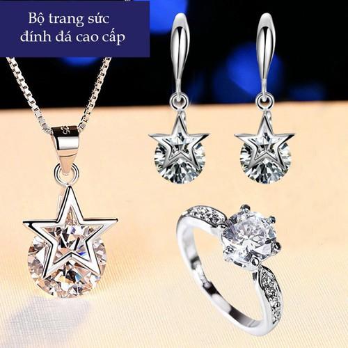 Bộ trang sức bạc cao cấp ngôi sao may mắn tặng kèm nhẫn pha lê tình yêu nạm đá zircon thời trang ttb- btsb59 - 11931409 , 19495142 , 15_19495142 , 500000 , Bo-trang-suc-bac-cao-cap-ngoi-sao-may-man-tang-kem-nhan-pha-le-tinh-yeu-nam-da-zircon-thoi-trang-ttb-btsb59-15_19495142 , sendo.vn , Bộ trang sức bạc cao cấp ngôi sao may mắn tặng kèm nhẫn pha lê tình yêu