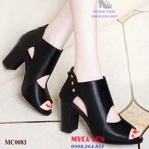 Giày cao gót cao cổ 7cm-đen-mc0083