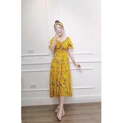 [SIÊU SALE]  Đầm xòe voan lụa bẹt vai  eo thun 40-70kg  Thiết kế  cao cấp