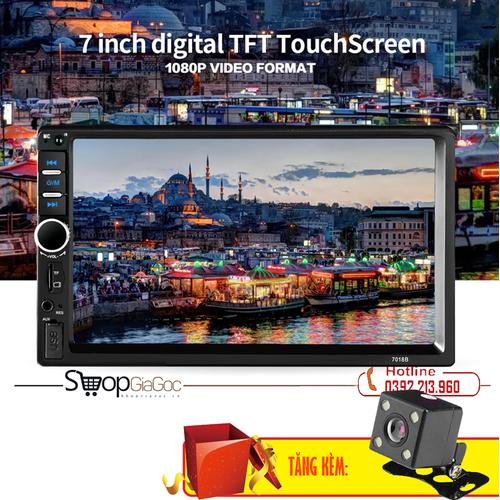 Màn hình lcd 7 inch phát nhạc mp5 cảm ứng bluetooth 7018b tặng kèm camera lùi cao cấp