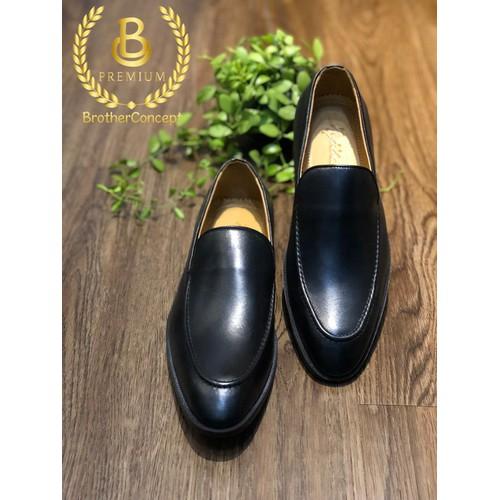 Giày tây loafer brother v line đen vn