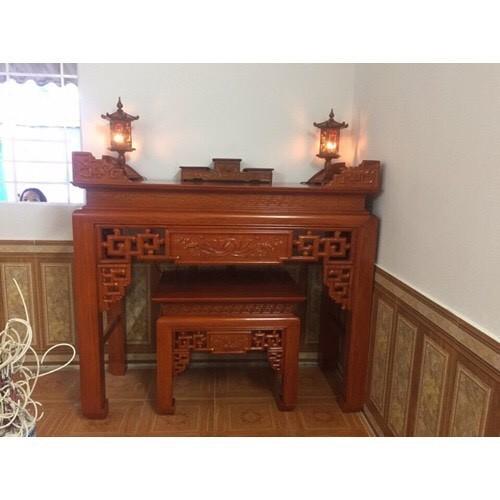 Bộ bàn thờ sen rơi gỗ mít 127cm