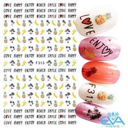 Miếng Dán Móng Tay 3D NAIL Sticker Trang Trí Hình Trái Cây  Và Cây Dừa F313