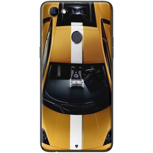 Ốp lưng nhựa dẻo Oppo F7 Xe đua vàng