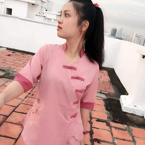 Áo lam đi chùa: bộ 5 nút màu  hồng