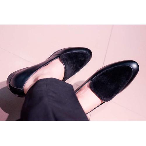 Giày lười nam đẹp đế khâu da nhung - độn đế + m430-lc
