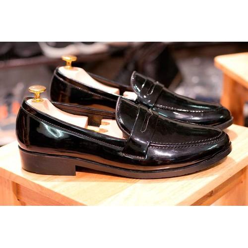 Công sở nam sang trọng - giày lười nam đẹp băng khuyết da bóng - độn đế + m367-lc