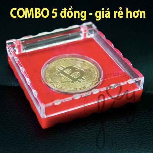 Combo 5 đồng bitcoin lưu niệm mạ 24k có hộp cao cấp sang trọng jv140x5