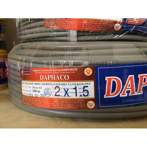 Dây điện tròn xám ruột đôi 2x1.5 daphaco