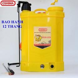 Bình Xịt Điện phun thuốc trừ sâu hỗ trợ bơm tay Oshima OS20-2CN, máy bơm thuốc khử trùng chạy acquy, bình xịt điện tưới cây