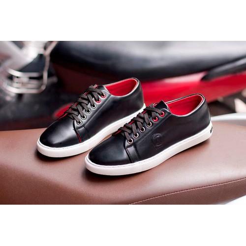 Giày thể thao nam buộc dây aroti da trơn màu đen đế khâu chắc chắn- đen - độn đế+ m510-lc