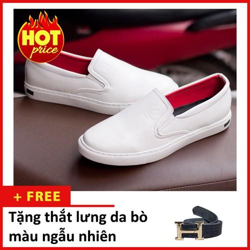 Giày lười nam - giày slip on nam aroti đế khâu chắc chắn phong cách đơn giản màu trắng - tl+m498-lc