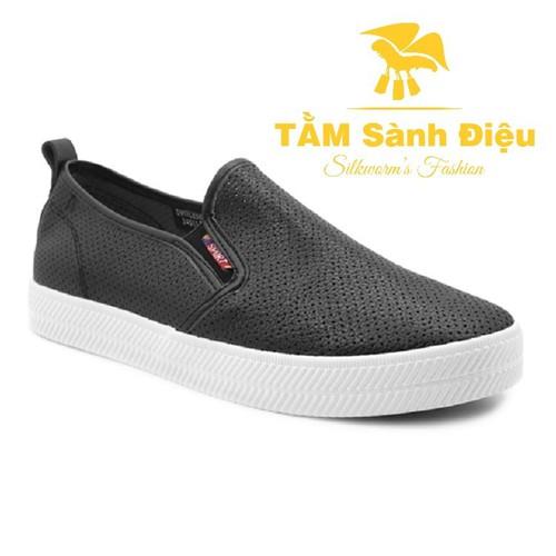Slip on nữ - giày lười nữ - giày mọi nữ tsd s0137 bằng da đế bệt 6029 - đế thấp màu đen - đế bằng trơn