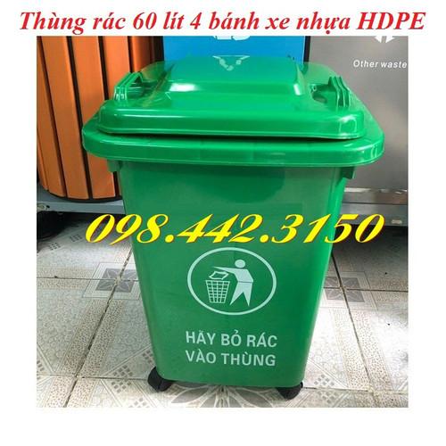 Thùng rác 60 lít nhựa HDPE có bánh xe