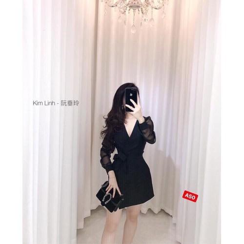 Mùa thu mới 2019 thời trang mới gợi cảm V-cổ xếp li thắt nơ thắt nơ bất ngang eo