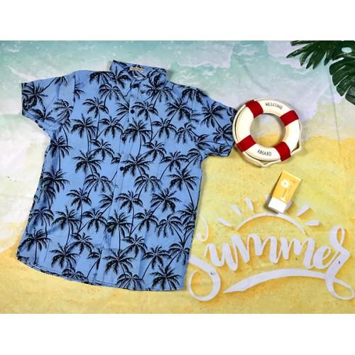 Áo sơ mi hoa lá cây áo hawaii đi biển