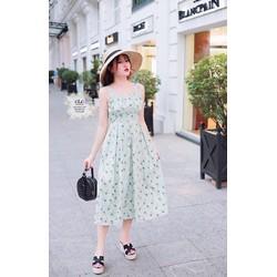 Đầm xòe voan lụa hoa lá đính ngọc trai  45-60kg thiết kế cao cấp