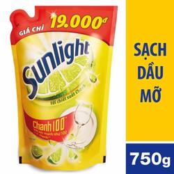 Nước rửa chén Sunlight Chanh 100 chiết xuất chanh tươi túi 750g