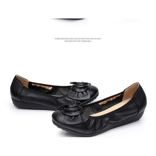 Giày da búp bê đính nơ