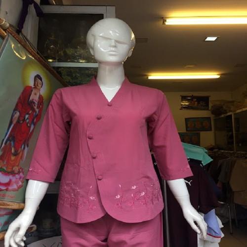 Áo lam đi chùa: vạt chéo thêu gấu màu  hồng đậm