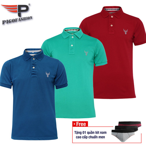 Bộ 3 áo thun nam cổ bẻ pigofashion chuẩn xmen pg01 - 28 - congvitdo - tặng 1 quần lót