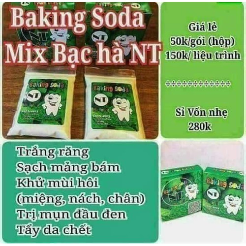 Baking soda trắng răng mix bạc hà