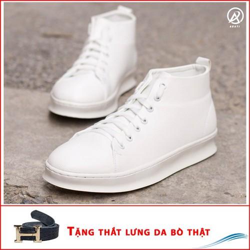 Giày Da Nam - Giày Thể Thao Nam Cổ Lửng Màu Trắng Đế Khâu Chắc Chắn Rất Năng Động - TRẮNG-TL+T447-LC