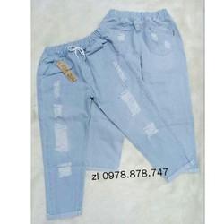 Quần Baggy Jean Nữ Lưng Thun Size Đại