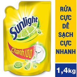 Nước rửa chén Sunlight Chanh 100 túi 1,4kg