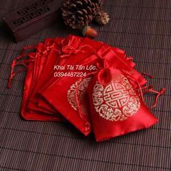 Combo 50 túi gấm đỏ 9x13 cm đựng trang sức vòng phong thủy tphcm