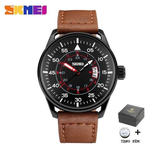 Đồng hồ nam skmei 9113 chính hãng - dây da cao cấp, thiết kế trẻ trung nâng tầm đẳng cấp