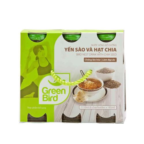 Nước uống bổ dưỡng yến sào và hạt chia - khay green bird - nutrinest  - 6 hũx185ml - 11975787 , 19562607 , 15_19562607 , 162000 , Nuoc-uong-bo-duong-yen-sao-va-hat-chia-khay-green-bird-nutrinest-6-hux185ml-15_19562607 , sendo.vn , Nước uống bổ dưỡng yến sào và hạt chia - khay green bird - nutrinest  - 6 hũx185ml