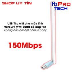 USB Thu wifi cho máy tính - Mercury MW150UH có ăng ten không cần cài đặt cắm là chạy |Thiết bị mạng