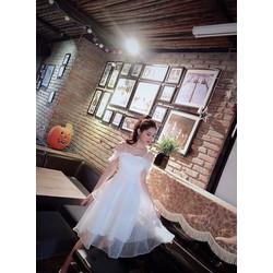 Váy nữ 2019 mới dây trắng váy đầm thần tiên siêu ngọt ngào điểm sóng dây váy