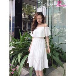 Váy cổ tích siêu tiên dây váy nữ thần mùa hè ren ngọt ngào khâu xù váy nữ váy dài