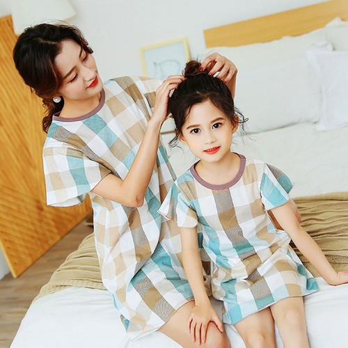 Đầm ngủ cho bé gái cotton họa tiết caro tinh tế cho bé 4-10 tuổi bbshine – dn003