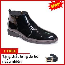 Giày Chelsea Boot Nam Cổ Khóa Da Bóng Màu Đen Dễ Phối Hợp Với Quần Áo-Đế Được Khâu Chắc Chắn Đường Chỉ Được May Tỉ Mỉ-Form Giày Ôm Chân Tôn Giáng Và Toát Lên Vẻ Nam Tính Và Lịch Lãm-Giày Chelsea Boot Nam Đảm Bảo Chất Liệu Và Giá Tốt CB521-BONGKHOA-TL