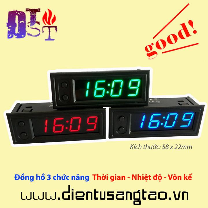 Đồng hồ 3 chức năng  Thời gian - Nhiệt độ - Vôn kế