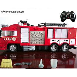 Xe ô tô cứu hỏa điều khiển đồ chơi trẻ em có âm thanh và đèn phun được nước