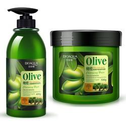Cặp dầu gội, dầu xả ngăn rụng tóc, phục hồi tóc hư tổn Olive Bioaqua