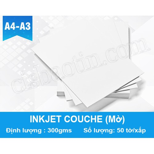 COMBO 10 XẤP- GIẤY INKJET 300G A3 COUCHE MỜ IN MỰC NƯỚC -OFFSET RC