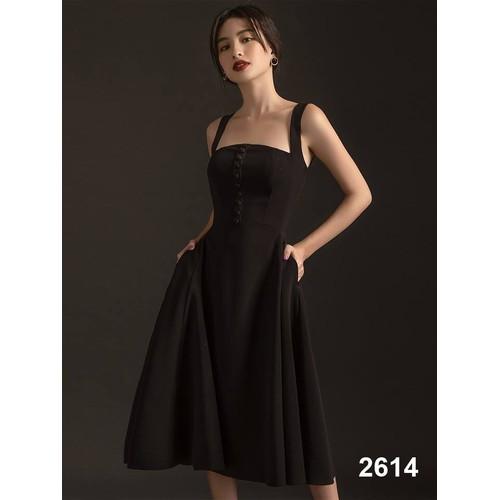 Đầm xòe hai dây đen đính nút dự tiệc