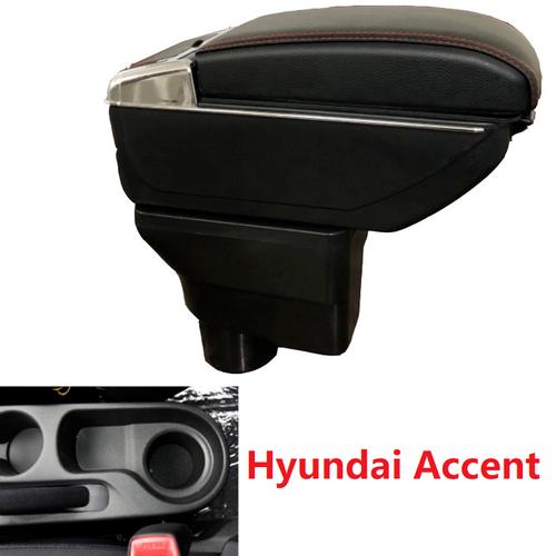 Hộp tỳ tay xe hơi Hyundai Accent, Kia Rio tích hợp 7 cổng USB - Mầu Đen và Be
