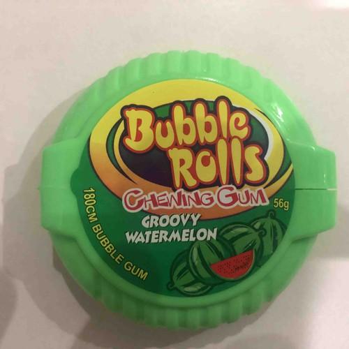Kẹo Gum Cuộn Bubble Rolls Hương Dưa Hấu 56g  180 cm