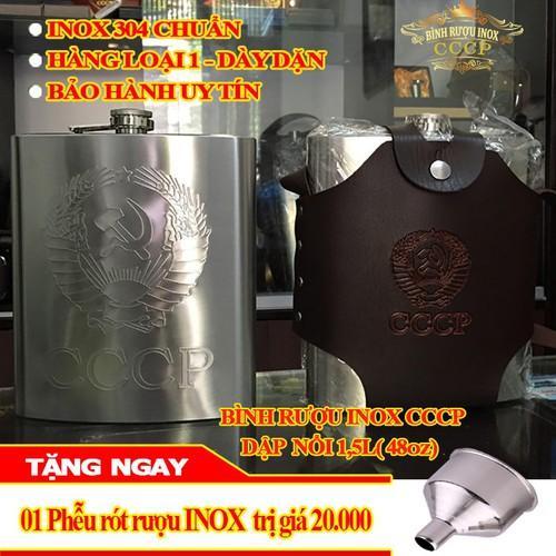 Bình Đựng INOX  CCCP Dập Nổi 1,5L - Tặng Kèm Bao Da và Phễu INOX