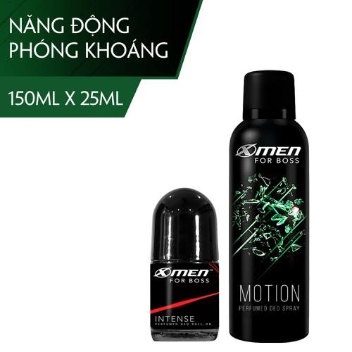 Bộ Xịt khử mùi X-Men for Boss 150ml Motion + Lăn khử mùi 25ml Intense - 11695705 , 18998202 , 15_18998202 , 140000 , Bo-Xit-khu-mui-X-Men-for-Boss-150ml-Motion-Lan-khu-mui-25ml-Intense-15_18998202 , sendo.vn , Bộ Xịt khử mùi X-Men for Boss 150ml Motion + Lăn khử mùi 25ml Intense