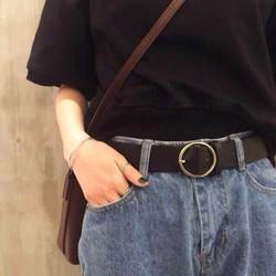 Dây thắt lưng da Ulzzang mặt tròn xịn – Dây nịt da mặt Tròn Style Hàn Quốc