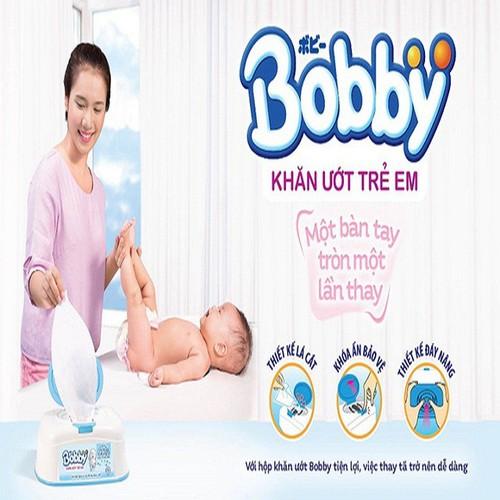 Khăn ướt Bobby không mùi 100 miếng - Màu xanh