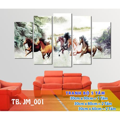Bộ 5 tấm tranh treo tường Mã Đáo Thành Công TB.JM_001 -Gỗ nhập khẩu Hàn Quốc-Bo viền,chống lóa,ẩm mốc,mối mọt